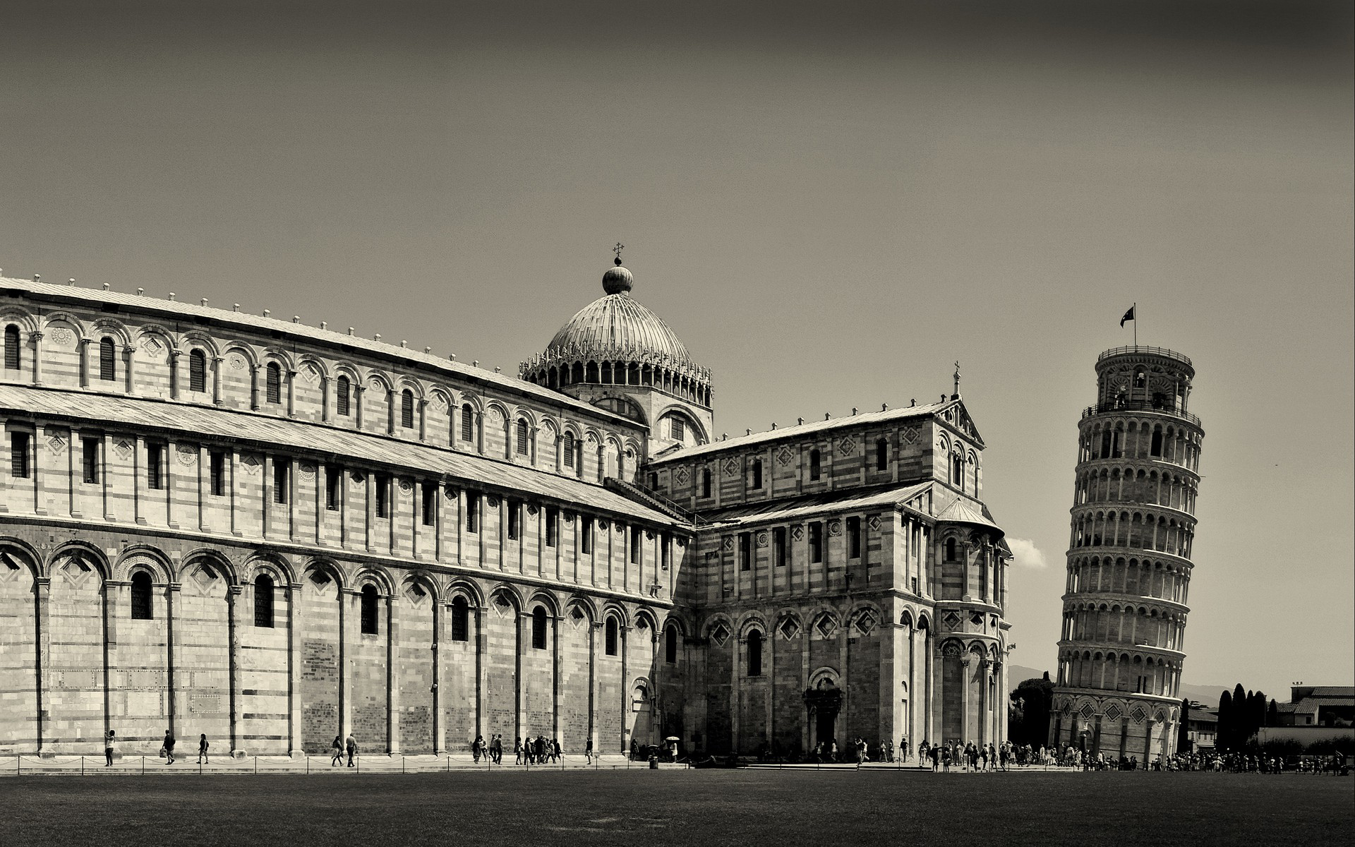 Leaning Tower of Pisa Italy Black and White HD Wallpapers Widescreen