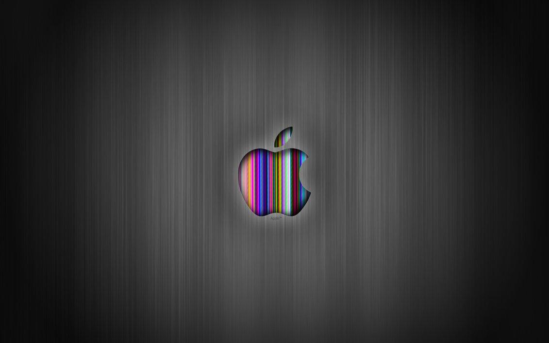 Apple Logo Colorful in HD Gray Wallpaper Mac Widescreen