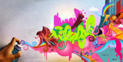 Awesome Colorful Graffiti on The Wall HD Wallpaper for Desktop PC