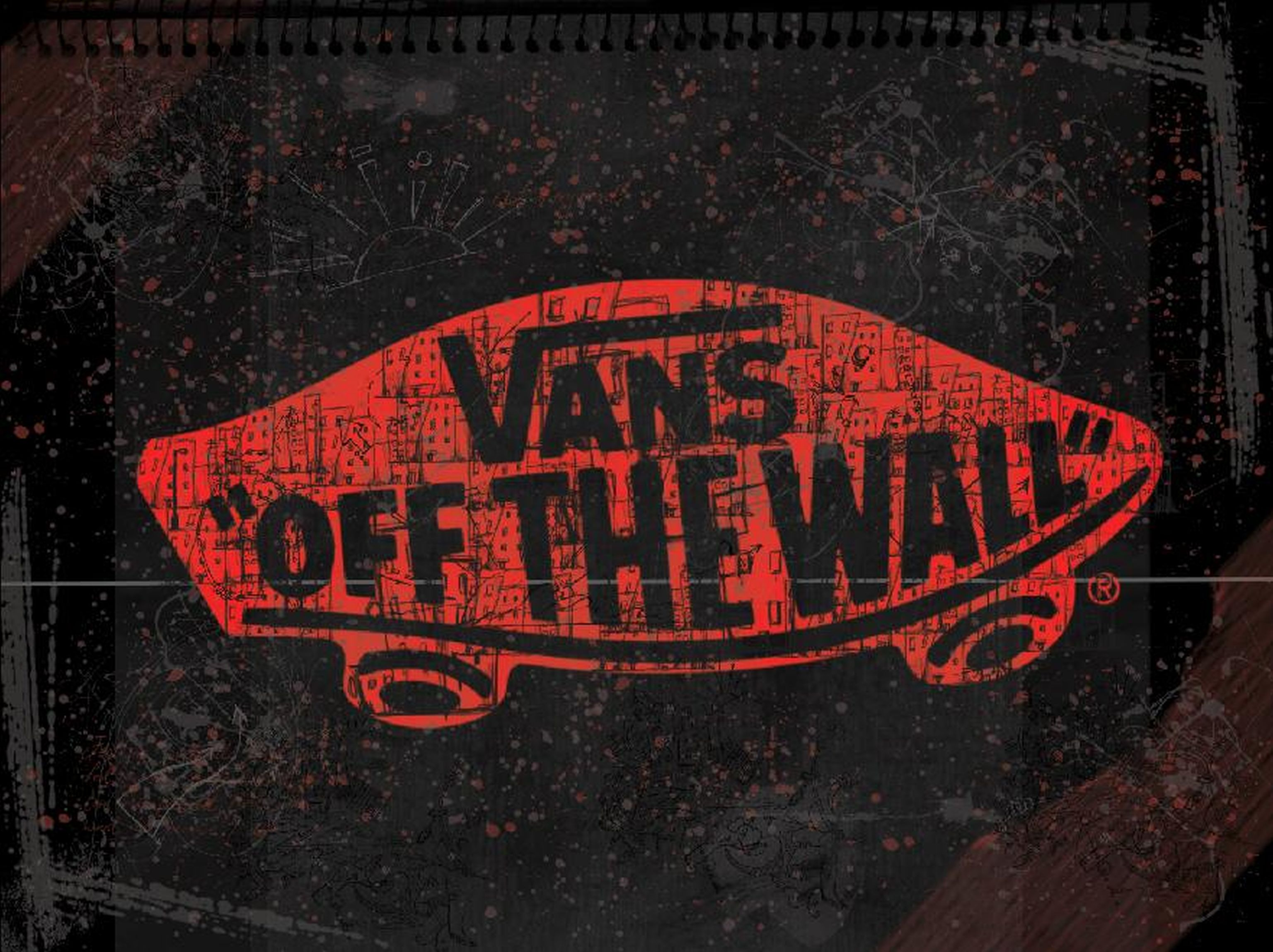 Red vans off the wall skateboarding logo dark background Wallpapers for the wall