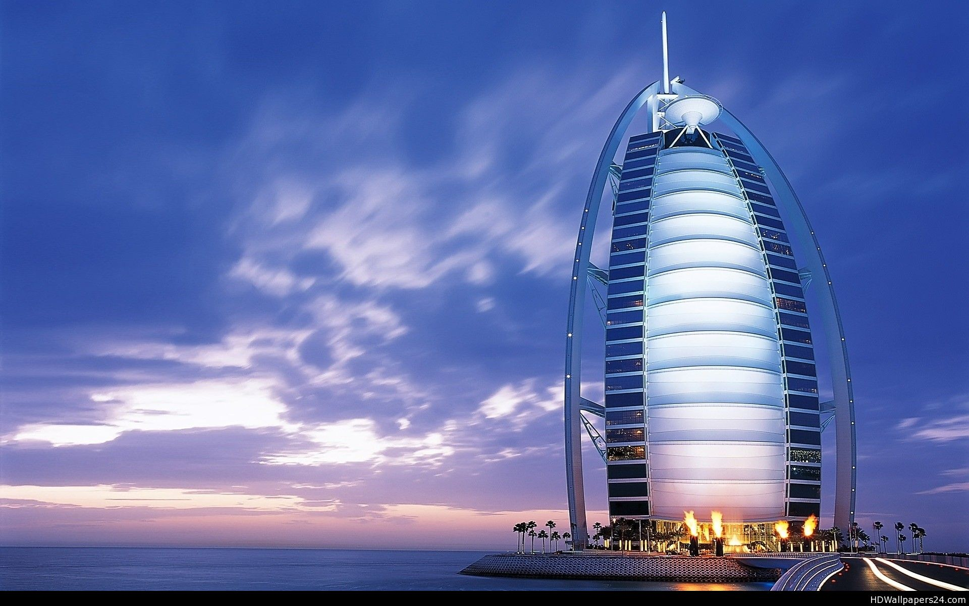Amazing burj al arab jumeirah dubai wide at night hd for Burj al arab