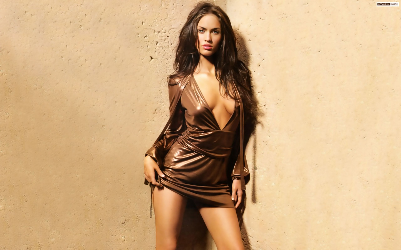 Megan Fox Sexy Brown Dress Open HD Wallpapers 1080p Quality Most Sexiest Celebrities Hollowood