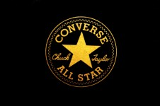 Yellow Converse All Star Chuck Taylor Logo Centre Black Background For Desktop Wallpapers