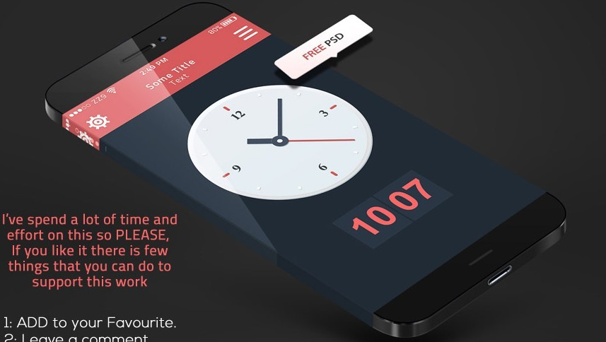 iPhone 6 Concept Clock Widget PSD (Retina Ready) - TitanUI
