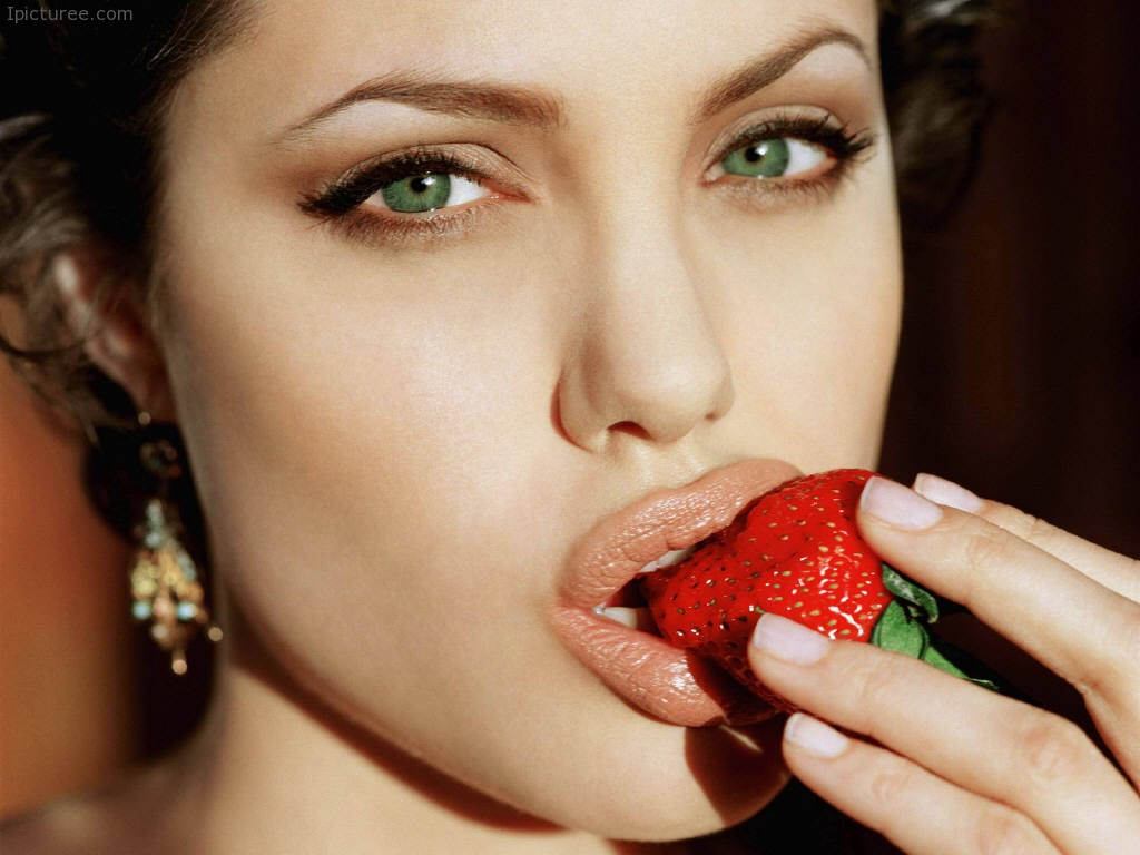 Angelina Jolie having a Stawberry