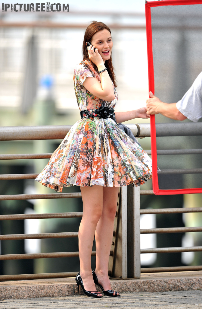 Sexy Leighton Meester in skirt at Gossip Girl Shoot