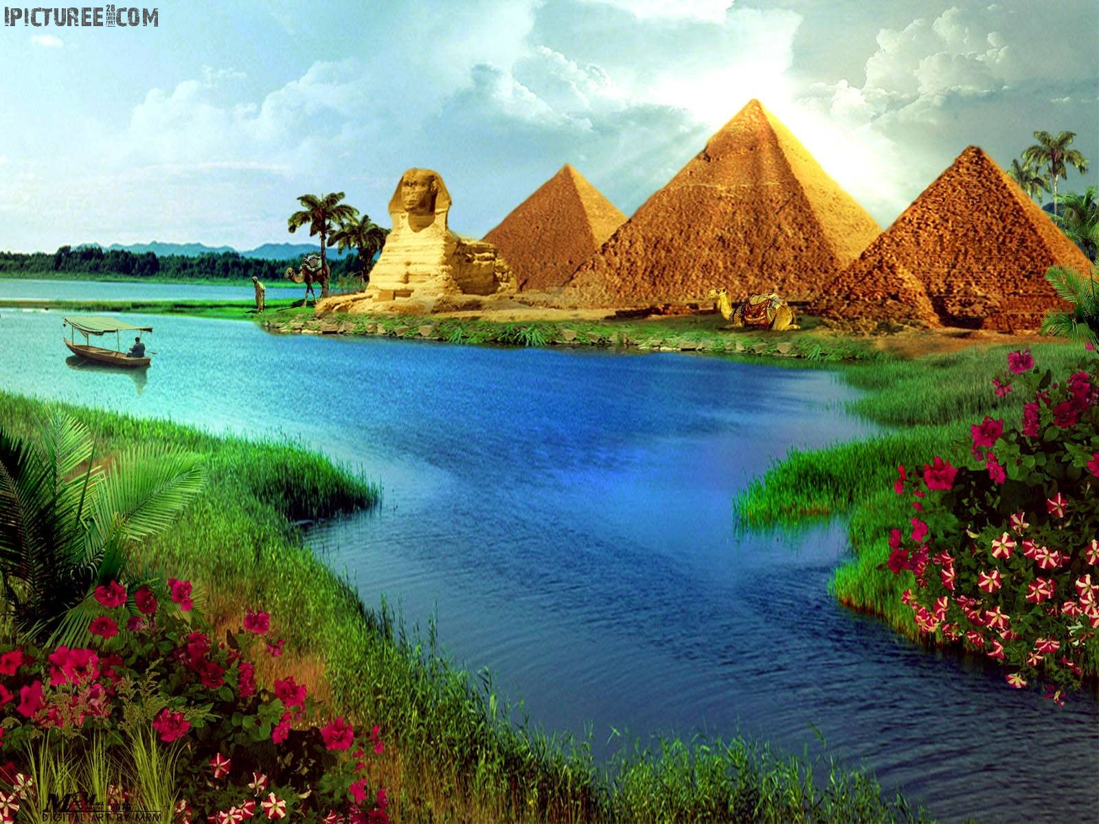 Beautiful scenery Nature Colors Pyramid Wallpaper
