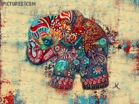 Vintage Elephant Art Painting