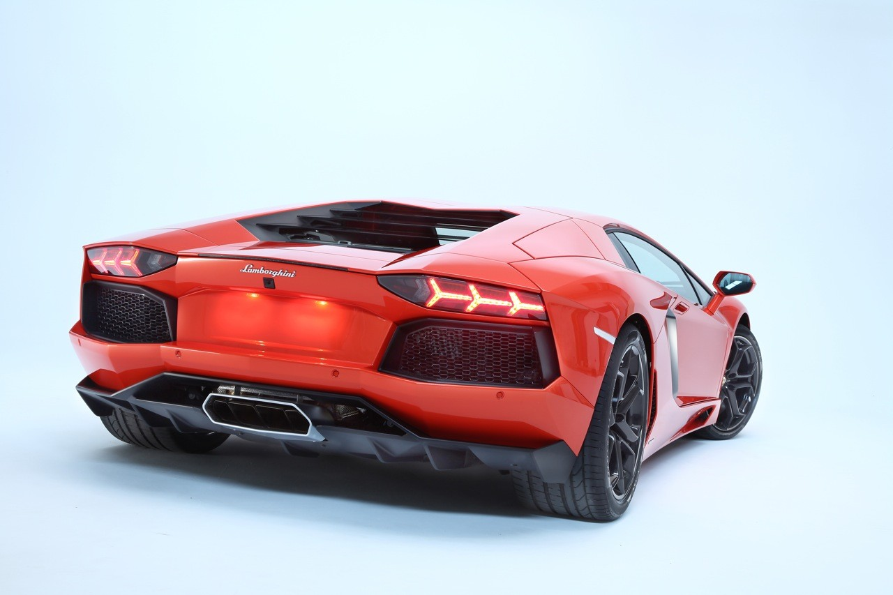 2012 Red Lamborghini Aventador LP700-4 Rear Angle View