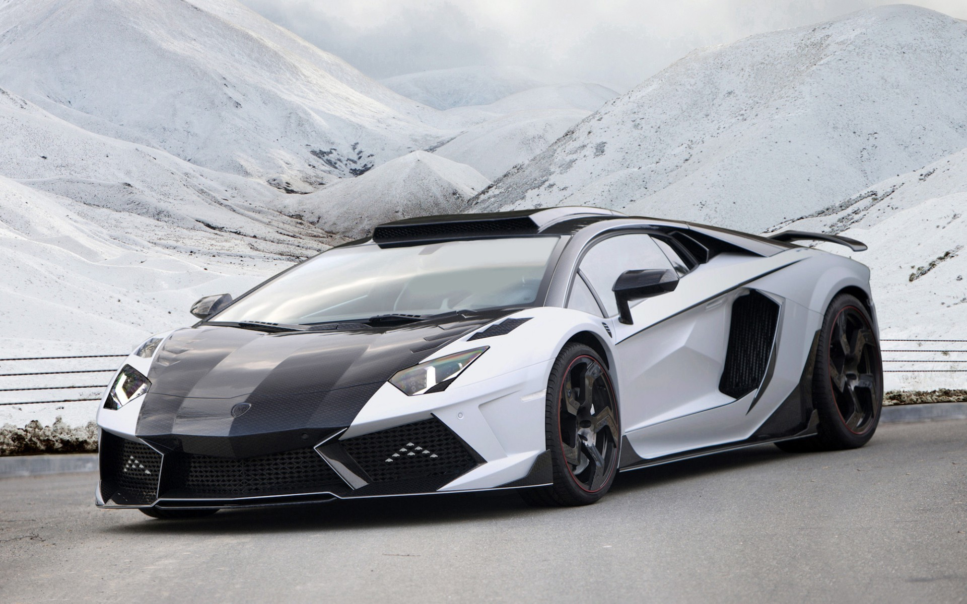 2015 Black and White Lamborghini Aventador Wallpaper