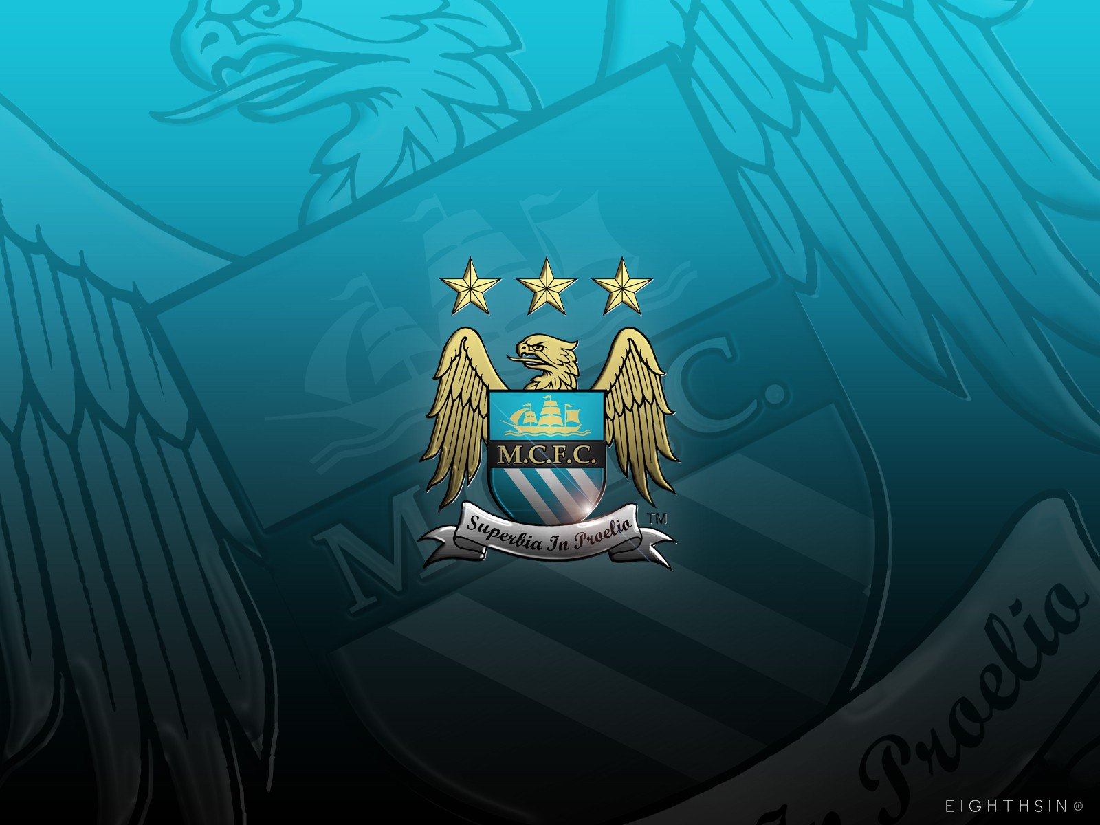 Manchester City Logo Superbia In Proelia Wallpaper