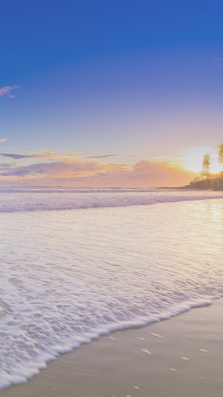 Pastel Sunny Beach Sunset iPhone 6 Wallpaper