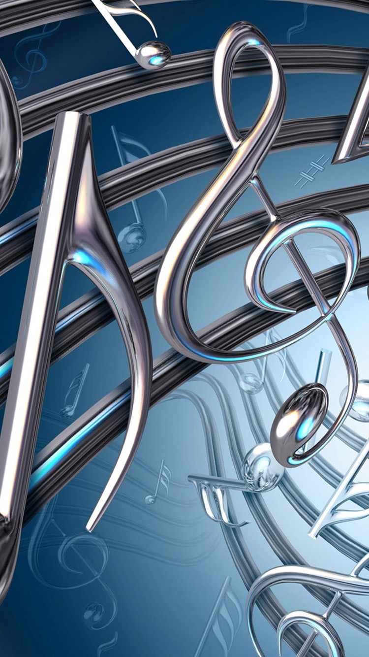 3D Music letters Wallpaper For iPhone 6